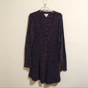 Style & Co Purple 3-Button Oversized Cardigan XXL